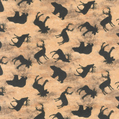 Cabin Welcome Flannel - Animal Toss Brown Yardage