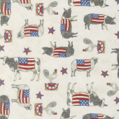 Land That I Love - Patriotic Farm Animals Barnwood White Yardage