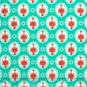 Vintage Kitchen - Cat Teal Yardage