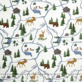 River Journey - Map Cream Yardage