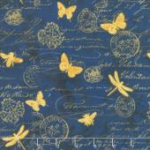 Hydrangea Dreams - Gilded Butterflies Navy Yardage