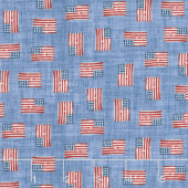 All American Road Trip - Mini Flag Blue Yardage
