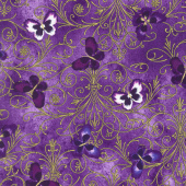 Pansy Noir - Pansy Butterfly Scroll Purple Yardage