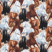 Animals - Running Horses Multi Yardage