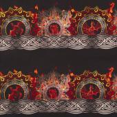 Dragons - Flame Border Red Black Digitally Printed Yardage