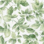 Watercolor Hydrangeas - Leaves Green Yardage