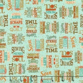 Sewing Mends the Soul - Sewing Words Medium Teal Yardage
