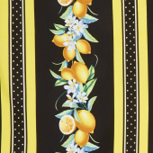 Lemon Fresh - Lemon Stripe Black Yardage