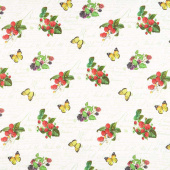 Briarwood - Small Berries and Butterflies White Multi Yardage