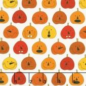 Fright Night - Pumpkins White Yardage