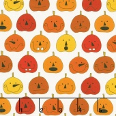 Fright Night - Pumpkins White Yardage