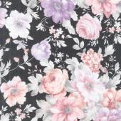 Woodside Blossom - Flowers Charcoal Yardage