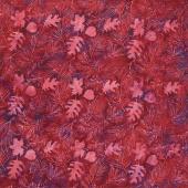 Fiery Sunset Batiks - Leaf Sprigs Red Purple Yardage