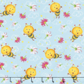 Busy Bees - Allover Bees Blue Yardage