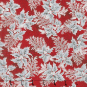 Holiday Flourish 11 - Silver Branches Scarlet Metallic Yardage