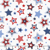 Red, White and Starry Blue - Large Stars White Yardage