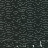 Black Beauty Batiks - Fans Black and Gray Yardage