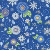 Arctic Wonderland - Blue Tossed Snowflakes & Flowers Yardage