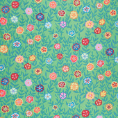 Kaffe Fassett Collective - February 2020 Cool Busy Lizzy Green Yardage