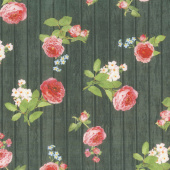 Farmhouse Rose - Wood Black Yardage