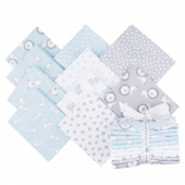 Penned Pals Flannel Blue Colorstory Fat Quarter Bundle