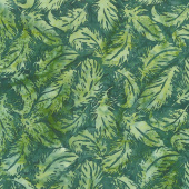 River Valley Batiks - Tossed Feather Seaweed Yardage