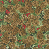 A Joyful Season - Pinecones Metallic Yardage