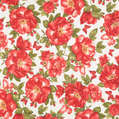 Garden Rose - Large Red Roses and Butterflies Cream Yardage