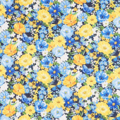 Madison - Large Floral Blue Yardage