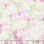 Butterfly Haven - Packed Hydrangea Pink Green Yardage