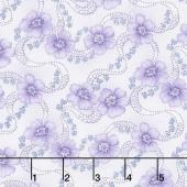 Twilight Garden - Primroses Linen/Purple Yardage