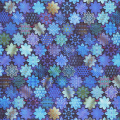 Flourish - Tiles Sapphire Digitally Printed Yardage