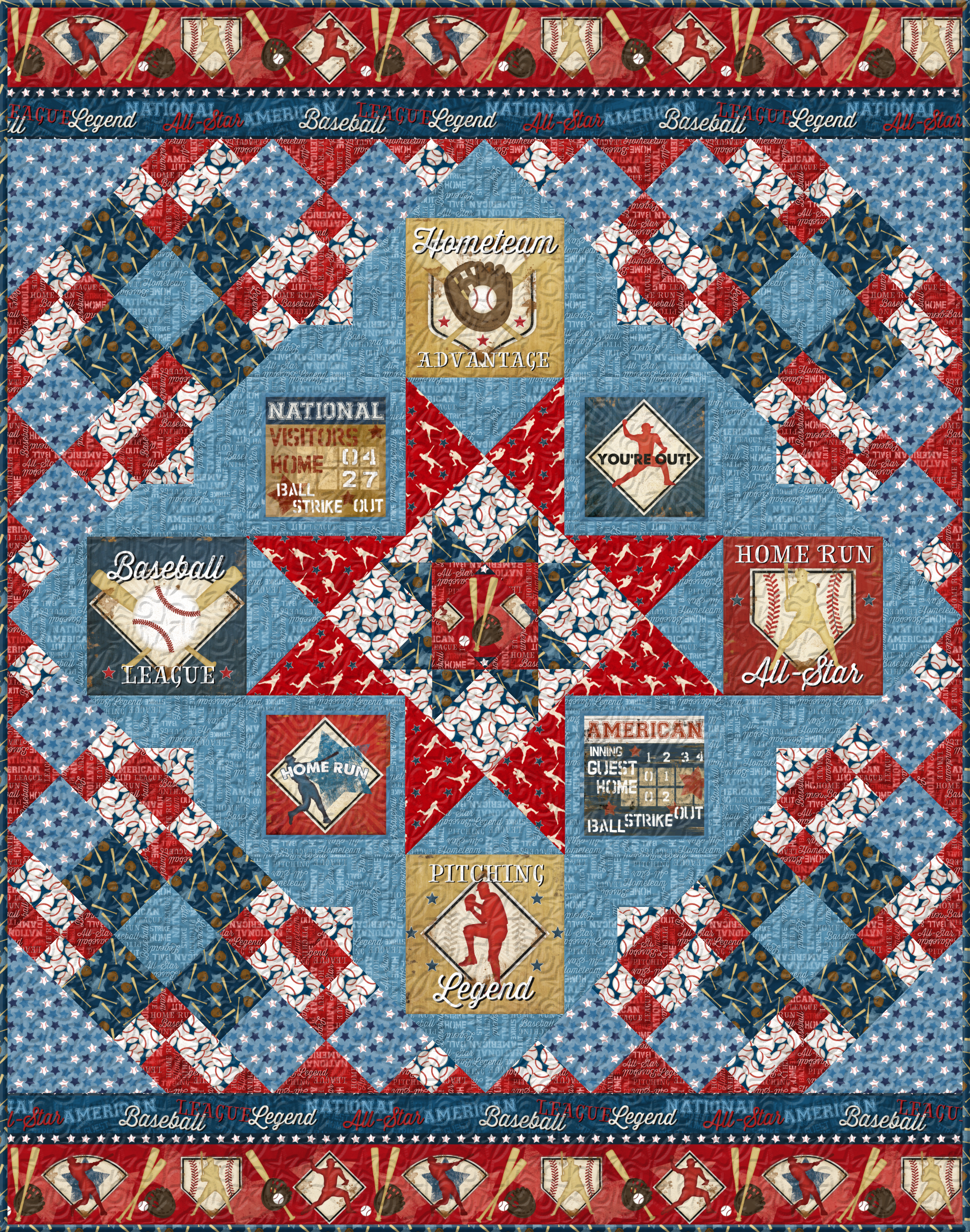 7th Inning Stretch Twin Quilt