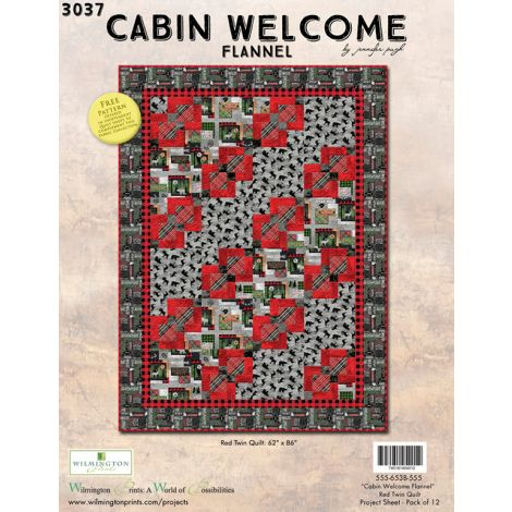 Cabin Welcome Flannel Quilt - Red