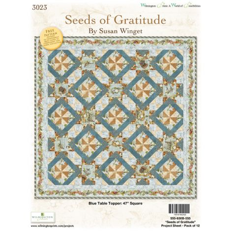 Seeds of Gratitude Table Topper - Blue